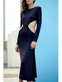 Backless Round Collar Long Sleeve Side Slit Maxi Dress - Black Xl