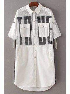 Letter Print Shirt Collar 3/4 Sleeve Mesh Shirt Dress - White M
