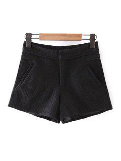 Lace Solid Color Pockets Shorts - Black L
