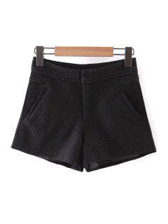 Sólido Del Cordón De Los Bolsillos De Color Pantalones Cortos - Negro L