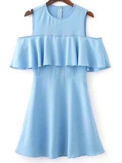 Ruffles Spliced Jewel Neck Cold Shoulder Dress - Light Blue L