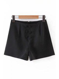 Back Zipper Solid Color Double-Breasted Shorts - Black L
