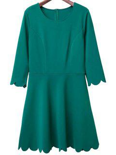 Solid Color Round Neck 3/4 Sleeve A Line Dress - Green M