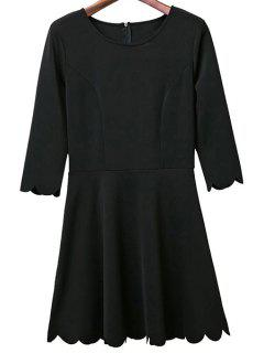 Solid Color Round Neck 3/4 Sleeve A Line Dress - Black L