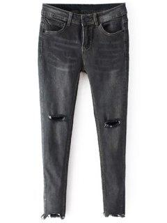 Distressed Cropped Skinny Jeans - Gray L
