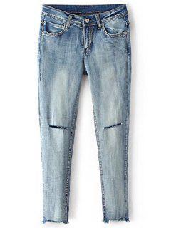 Broken Hole Cropped Skinny Jeans - Blue L