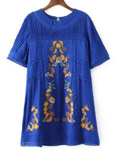 Casual Embroidered Lace Patchwork Women's Tee Dress - Blue L
