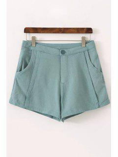 Pure Color High Waisted Shorts - Green 40