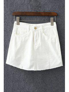 Solid Color Pockets Denim Mini-jupe - Blanc Xl