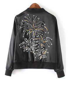 Sequins Stand Collar Long Sleeve Embroidery Jacket - Black L