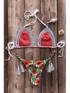 Printed Crocheted Bikini Set - Watermelon Red