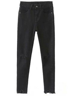 Slimming Ripped Solid Color Jeans - Black 2xl
