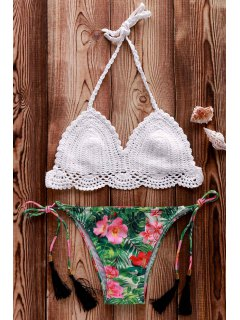 Crocheted Halter Floral Print Bikini Set - White