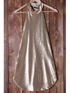 Sequins Stand Neck Sleeveless Mini Dress - Rose Gold L