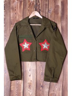 Star Patch Turn Down Collar Long Sleeve Jacket - Army Green S