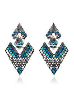 Rhinestone Inverted Triangle Pendant Earrings - Green