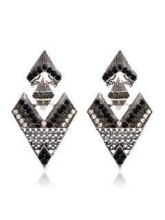 Rhinestone Inverted Triangle Pendant Earrings - Black