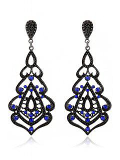 Rhinestone Hollow Out Pendant Earrings - Sapphire Blue