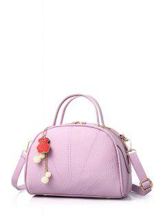 Pendant Stitching Candy Color Tote Bag - Light Purple