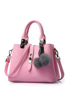 Pompon Checked PU Leather Tote Bag - Pink