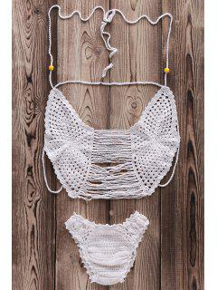 Crochet Cami Hollow Bikini Set - White