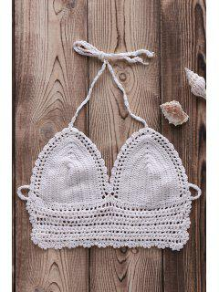 Pure Color Halter Crochet Crop Top - Weiß
