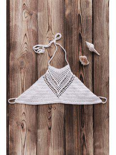 Crochet High Neck Bikini Top - White
