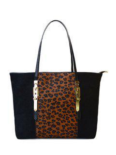 Buckle Leopard Print Splicing Shoulder Bag - Black