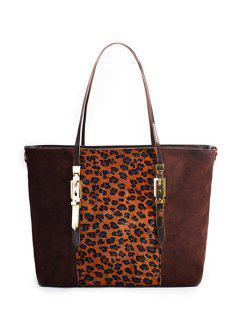 Buckle Leopard Print Splicing Shoulder Bag - Coffee