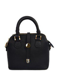 Solid Color Metallic PU Leather Tote Bag - Black