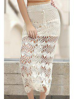 Solid Color Cut Out High Waist A-Line Crochet Skirt - Apricot