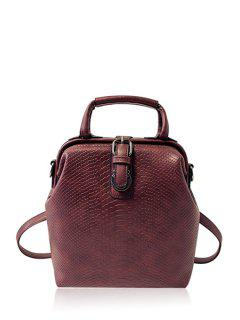 Embossing Buckle Solid Color Satchel - Purplish Red