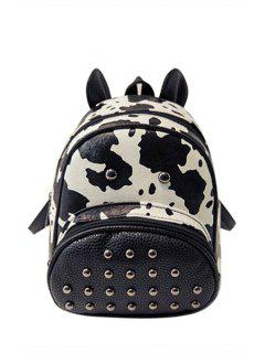 Cow Print Rivet PU Leather Satchel - White And Black