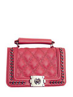 Cover Checked Chains Crossbody Bag - Red