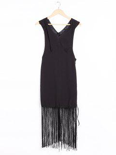 V-Neck Cutout Fringed Flapper Dress - Black S
