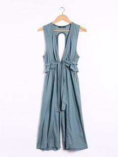 Denim Ruffles Plunging Neck Sleeveless Jumpsuit - Blue S