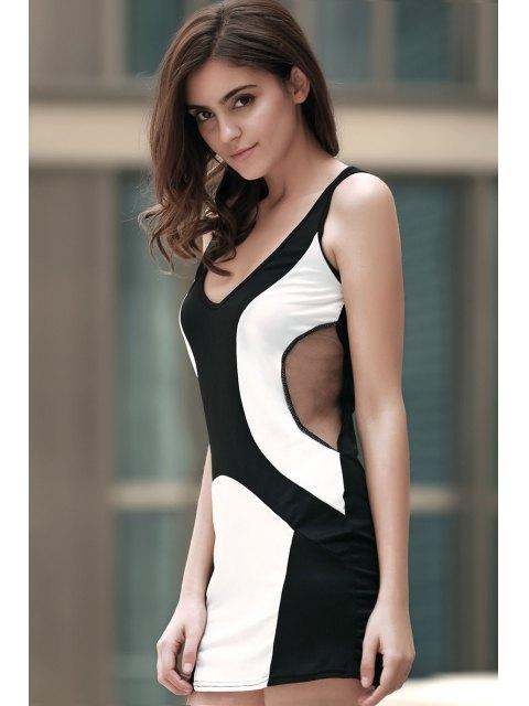 women's Color Block Plunging Neck Voile Spliced Mini Dress - BLACK M Mobile