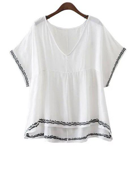 Broderie V-Neck Batwing manches T-shirt - Blanc L Mobile