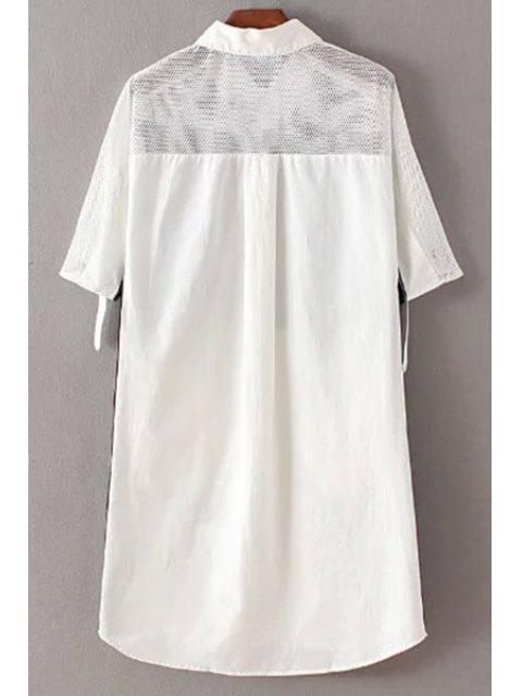 womens Letter Print Shirt Collar 3/4 Sleeve Mesh Shirt Dress - WHITE M Mobile