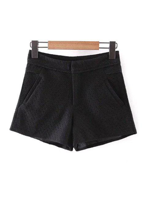 ladies Lace Solid Color Pockets Shorts - BLACK L Mobile