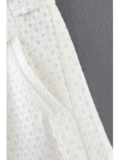 ladies Lace Solid Color Pockets Shorts - BLACK L Mobile