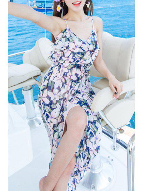 fashion Bohemian Floral Print Spaghetti Straps Sleeveless Dress - PINK M Mobile