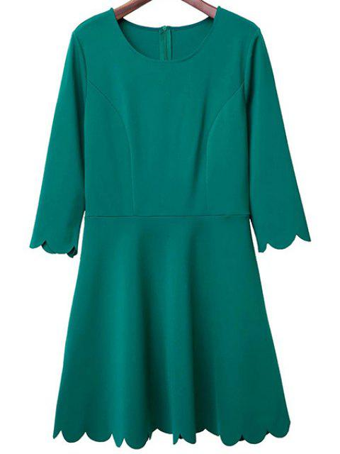online Solid Color Round Neck 3/4 Sleeve A Line Dress - GREEN M Mobile