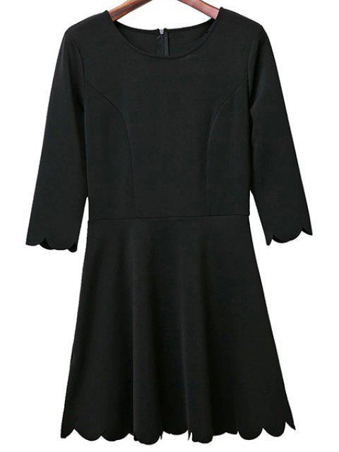 lady Solid Color Round Neck 3/4 Sleeve A Line Dress - BLACK L Mobile