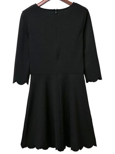 ladies Solid Color Round Neck 3/4 Sleeve A Line Dress - BLACK M Mobile