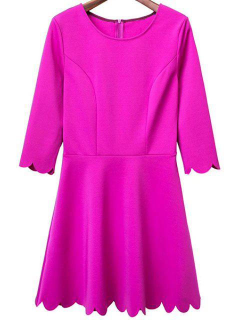 women Solid Color Round Neck 3/4 Sleeve A Line Dress - ROSE L Mobile