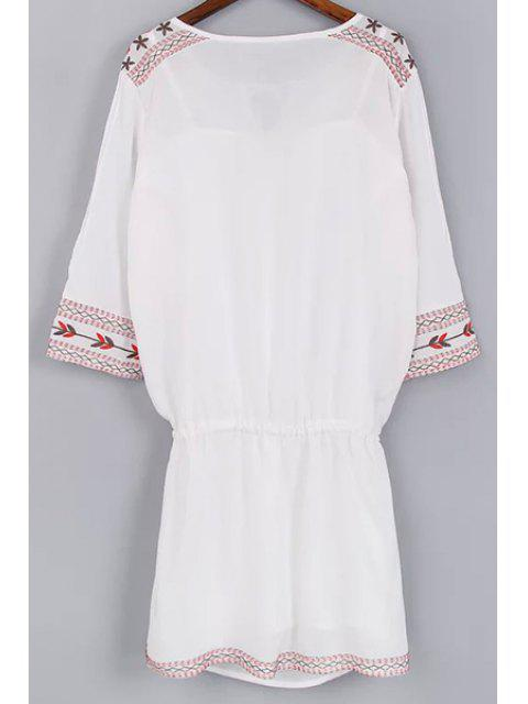 shop Cami Tank Top and Drawstring Embroidery Dress Twinset - WHITE L Mobile