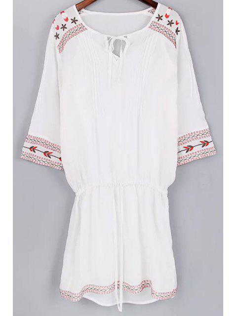 Cami Tank Top und Kordelzug Stickerei-Kleid Twinset - Weiß L Mobile