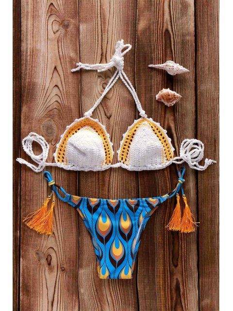 women Printed Crocheted Bikini Set - WHITE ONE SIZE(FIT SIZE XS TO M) Mobile