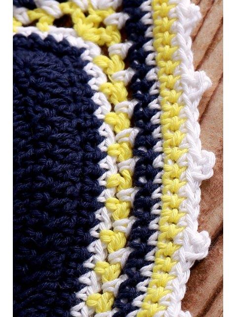 shops Tiny Flower Print Crocheted Bikini Set - PURPLISH BLUE ONE SIZE(FIT SIZE XS TO M) Mobile